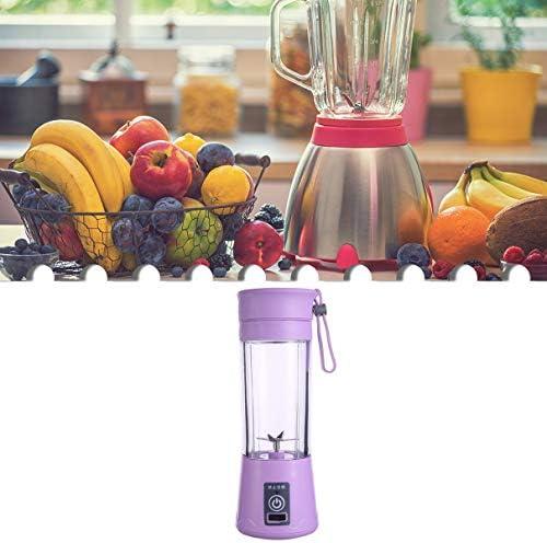 QLJ Exprimidor portátil Taza de Jugo Recargable Hogar Mini exprimidor Multifuncional Licuadora de Vidrio eléctrica Taza de Jugo eléctrica - Púrpura
