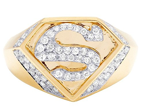 tusakha 1.00 CT Round Cut White Sapphire 14K Yellow Gold Plated Superman Logo Shield Men's Ring (Superman Silver Shield)