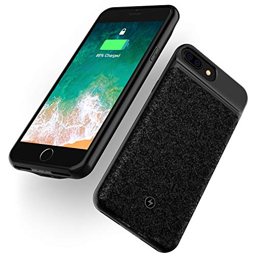 Wireless Battery Case for iPhone 8 Plus 7 Plus 6s Plus 6 Plus 4000mAh Ultra Slim Rechargeable Cover Support Headphone Qi Mosaic Wireless Charging Backup Extended Protective Shell Black 5.5 inch