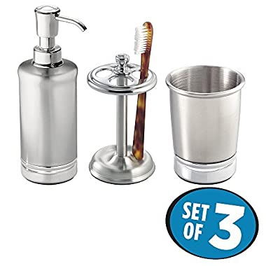 mDesign Classic Stainless Steel Soap Dispenser Pump, Toothbrush Holder Stand, Tumbler for Bathroom Vanities - Set of 3, Brushed/Chrome