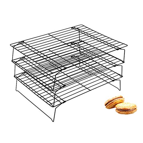 Stackable 3 Tier Cooling Rack Grid Black 15.7 Inch X 9.8 Inch (Color : Black)
