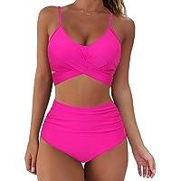 SUUKSESS Women Wrap Bikini Set Push Up High Waisted 2 Piece Swimsuits (M, Hot Pink)