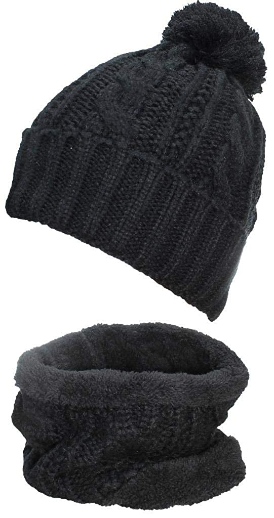 51d19ac0bef Amazon.com  Best Winter Hats Adult Cable   Rib Knit Beanie   Neck Warmer  Set