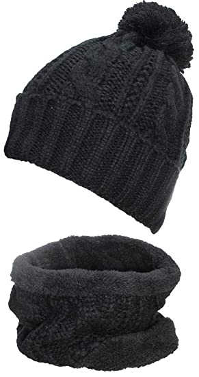08f8a2e8fa9 Amazon.com  Best Winter Hats Adult Cable   Rib Knit Beanie   Neck ...