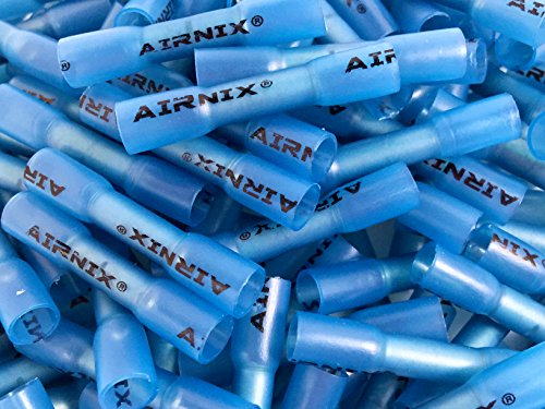 AIRNIX 300 Piece Blue Heat Shrink Butt Connectors, Insulated Crimp Butt Splice, Water and Vibration Proof, Corrosion Free, Gauge Range 16-14AWG for Industrial Applications by AIRNIX (Image #1)