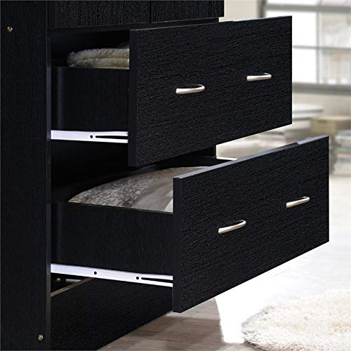Pemberly Row 32'' Wide 2 Door Wardrobe Armoire Closet with 2 Drawers in Black by Pemberly Row (Image #4)