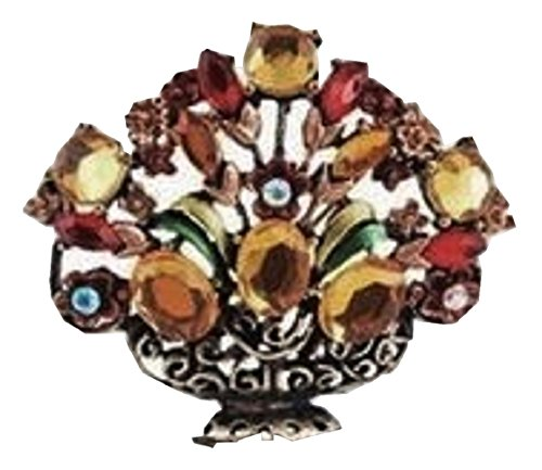 - Floral Basket Fashion Brooch Pin with Rhinestones (Amber)