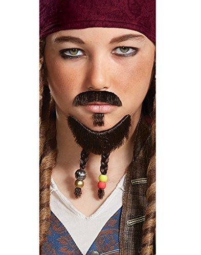 Disney POTC5 Jack Sparrow Goatee & Mustache - Child,  Multicolor,  One Size (Pirate Facial Hair)