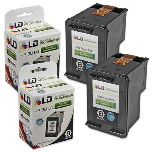 LD © Remanufactured Replacement Ink Cartridges for HP CC654AN HP 901XL / 901 HY Black (2 Pack) for the OfficeJet J4540, J4580, J4660, G510a, J4680c, G510n, J4524, J4550, 4500, J4624, J4680, G510g