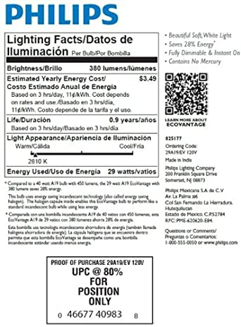 Philips 409839 EcoVantage 29-Watt (40-Watt Equivalent) A19 Soft ...