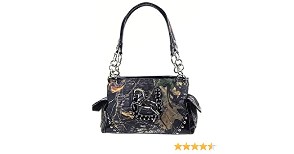4c86f3561383 Cowgirl Horse Horseshoe Camo Satchel Purse
