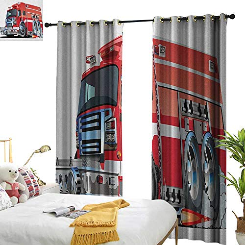 WinfreyDecor Insulated Sunshade Curtain Cars Big Fire Truck with Emergency Equipments Universal Safety Rescue Team Engine Cartoon Darkening and Thermal Insulating W84 x L108 Red Silver