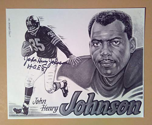 Signed Autograph John Henry Johnson Art Photo Card HOF-1987 COA -