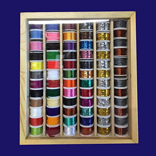72 Fly Tying Spools of Thread, Floss, Tinsel, Wool, Wires in a Wooden Box