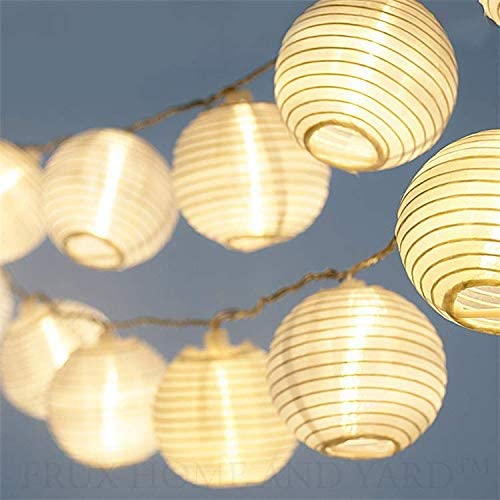 CozyHome - Guirnalda luces con farolillos decorativos de papel blanco | 7 m + 20 leds | con enchufe: sin cambio de pilas | decoracion interior y ...