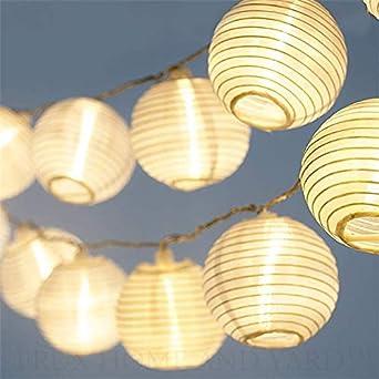 LED Lampion Lichterkette - 5,5 Meter | Mit Netzstecker NICHT batterie-betrieben | 15 LEDs warm-weiß | Kein lästiges austausch