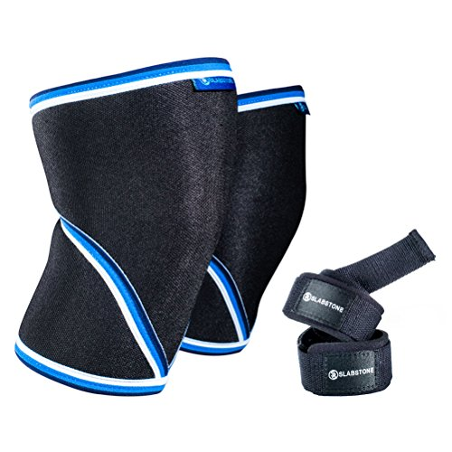 Knee Sleeve - Lifting Straps - Pair - Knee Brace - Knee Support - Knee Compression - Knee Wraps - Weightlifting - 7mm Neoprene - For Men Women - (BB XL) (Bb Shock)
