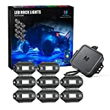 MICTUNING C1 8 Pods RGBW LED Rock Lights - Multicolor Underglow Neon Light Kit with Bluetooth Controller, Music Mode
