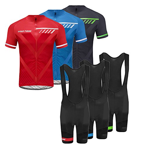 Bib Short Cycling Free (Uglyfrog2018 Men's Cycling Jersey Breathable Full-Zipper Comfortable Cycling Top and 3D-Padded Tight Bib(Short) Set for Outdoor Riding USDRXYS01)
