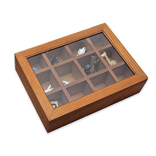 Wooden Multifunctional Storage Box, Classic Wooden Desktop Organizer 12 Adjustable Chest Compartments Storage Oraganizers for Tea Bags or Other Small Collections for Home and Office by (12 Compartment Storage)