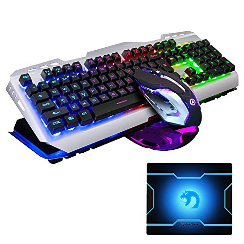 (FELICON Keyboard and Mouse Combo Wired USB 104 Keys Rainbow LED Backlit V1 Ergonomic Multimedia Gaming Keyboard Water Resistant + 3200DPI Adjust Optical Breathe Light 7 Buttons Mouse)