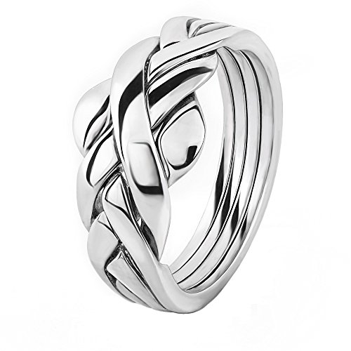 Women's Plain 4ASL 4 band STERLING SILVER Puzzle Ring (Silver Puzzle Ring)