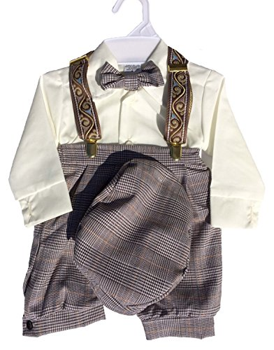 Infant & Toddler Boys Vintage Style Knickers Outfit 5-pc with Suspenders, Bowtie & Newsboy Cap (Infants 6 Months)