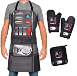 Star Wars Darth Vader Apron, Oven Mitts and Pot Holder Trivet Set - Cook, Grill and Bake on The Dark Side - One Size - 4 Piece Set