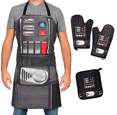 (Star Wars Darth Vader Apron, Oven Mitts and Pot Holder Trivet Set - Grill and Cook on The Dark Side - One Size - 4 Piece)