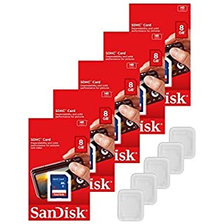 Lot of 5 SanDisk 8GB SD SDHC Class 4 Flash Memory Camera Card SDSDB-008G-B35 Pack + ( 5 Jewel Cases )
