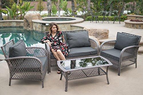 Belleze 4PC Deep Seating Set Wicker Rattan Patio Sofa Seat Cushion Furniture Garden Conversational Loveseat, Gray