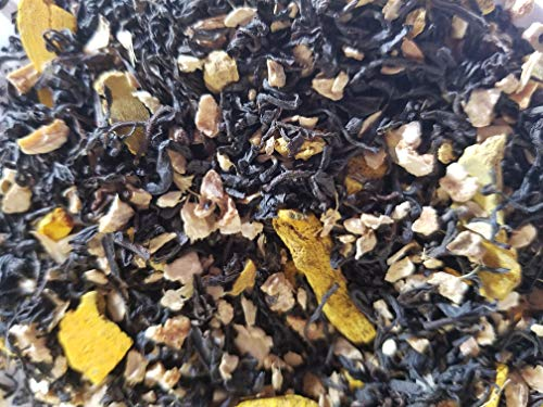 Anti-inflammatory Organic Black Tea; blend of Turmeric, Ginger, Lemon Peel, Cardamom. LOOSE WHOLE LEAF. APPROXIMATELY 30 CUPS TEA PER BAG. ALL INGREDIENTS ORGANIC. ENERGIZING ()