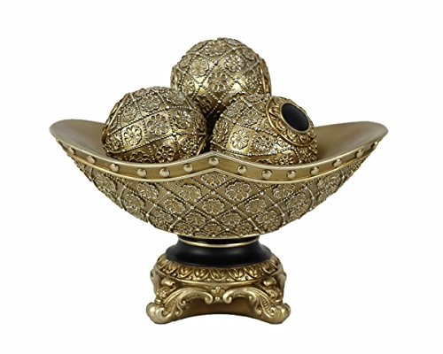 Collection Centerpiece Bowl - D'Lusso Designs Allurra Collection Four Piece Bowl With Three Orbs Set