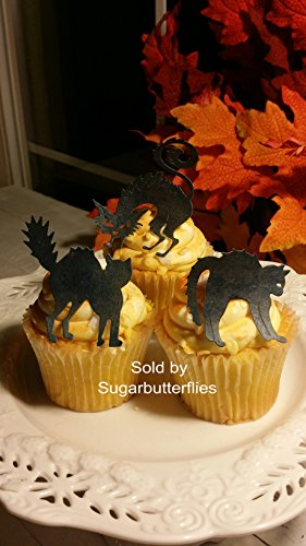 Edible Halloween Spooky Black Cats Cupcake Toppers Set of 21 -