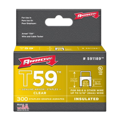 Arrow Fastener 591189 Genuine T59 Insulated Clear 5/16-Inch by 5/16-Inch Staples, 300-Pack Wire Staple Gun
