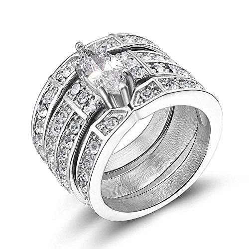 TIGRADE Stainless Steel Cubic Zirconia Wedding Ring Set Marquise Style for Womens (Marquise Style Silver, 7.5) ()