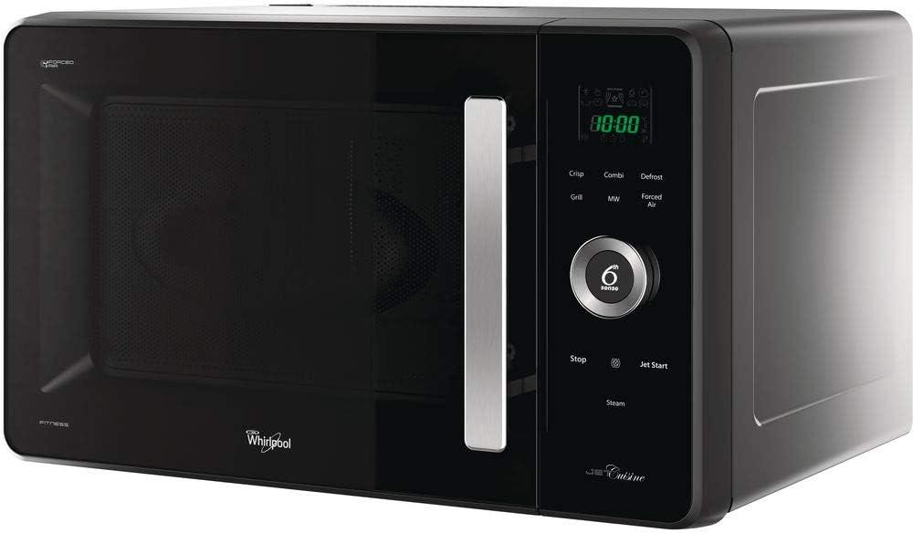 Whirlpool JQ 280 MB - Microondas, termoventilado, instalación libre, con vaporizador, rejilla baja, plato Crisp y asa, 30 L, negro