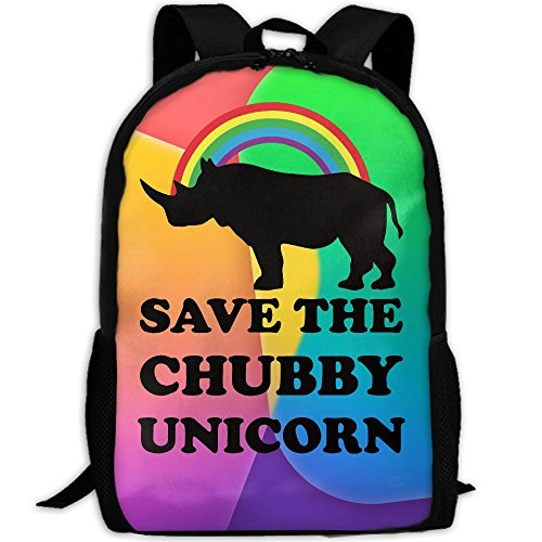 Save Chubby Unicorn Rainbow Unique Outdoor Shoulders Bag Fabric Backpack Multipurpose Daypacks For - Sunglasses Save