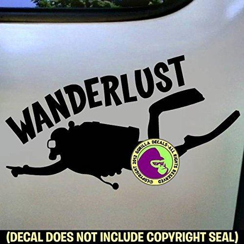 WANDERLUST Scuba Diver Vinyl Decal Sticker E
