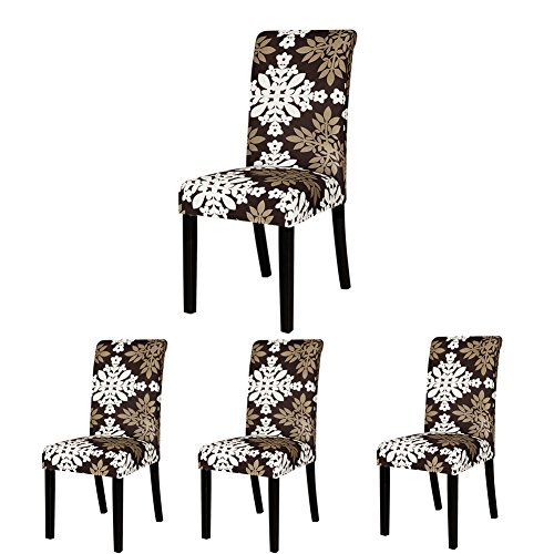 ColorBird Victorian Style Spandex Fabric Chair Slipcovers Removable Universal Stretch Elastic Chair Protector Covers for Dining Room, Hotel, Banquet, Ceremony (Set of 4, Medallion) (Medallion Stretch)