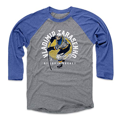 500 LEVEL Vladimir Tarasenko Baseball Tee Shirt (Medium, Royal/Heather Gray) - St. Louis Blues Raglan Tee - Vladimir Tarasenko Emblem Y WHT