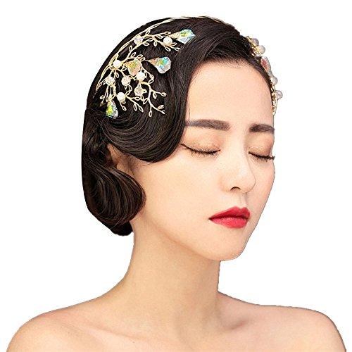 Retro Wedding Bridal Gold Crown Tiara Crystal Princess Queen Pageant Prom Rhinestone Veil Tiara Headband Wedding Hair Accessory