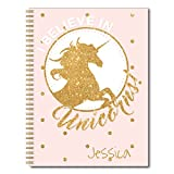Golden Unicorn Personalized Fantasy and Glitter Notebook / Journal, 120 Wide Ruled or Checklist Pages, durable laminated cover, and wire-o spiral. 8.5x11 | 5.5x8.5 | Made in the USA
