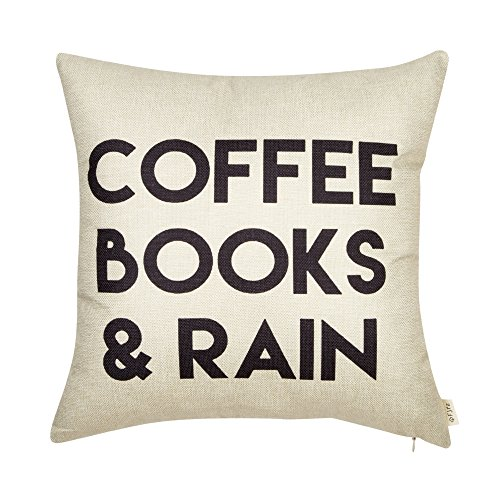 Fjfz Coffee Books and Rain Motivational Inspirational Quote Cotton Linen Home Decorative Throw Pillow Case Cushion Cover with Words for Book Lover Worm Sofa Couch, 18
