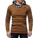 Mens Long Sleeve Hoodies Clearance Men's Autumn Winter Casual Camouflage Zipper Slim Long Sleeve Hoodie Top Blouse By WEUIE (M, Brown)