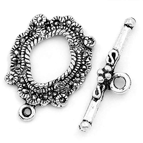 - 30 Sets Silver Tone Bracelet Toggle Clasps (Antique Flower) - Findings, DIY Crafts, Jewelry Making
