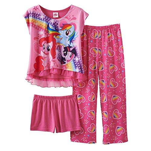 My Little Pony Little Girls' Rainbow Hearts 3 Piece Pajama Set (6)
