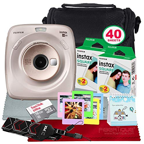 FUJIFILM Instax Square SQ20 Hybrid Instant Camera (Beige) – Deluxe Accessory Bundle with 40 Sheets of Instant Film & More