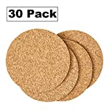 Cork Drink Coasters 1/8'' Thick 30 Pack - Home Bar and Kitchen Essential - Blank Reusable Absorbent Eco-friendly DIY Project Tile Craft Board - Restaurant Cafe Wedding Supplies and Accessories