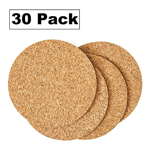 Cork Drink Coasters 1/8'' Thick 30 Pack - Home Bar and Kitchen Essential - Blank Reusable Absorbent Eco-friendly DIY Project Tile Craft Board - Restaurant Cafe Wedding Supplies and Accessories by FunKitnBar